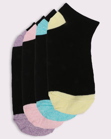 New Look 4 Pack Mixed Marl Trim Traier Socks Black