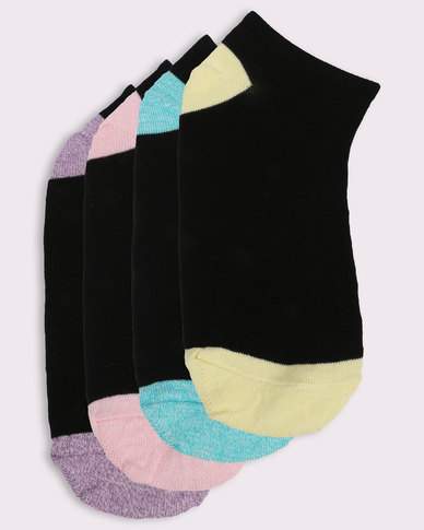 New Look 4 Pack Mixed Marl Trim Traier Socks Black