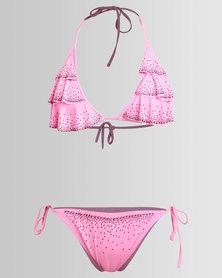 Peg Ruffle Bikini Set Pink