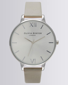 Olivia Burton Big Dial Leather Strap Watch Grey and Silver-Tone