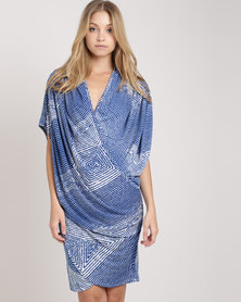 Ruff Tung Drape Dress Blue