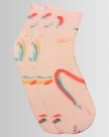 Hysteria Mia Print Ankle Socks Pink Multi