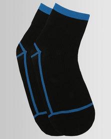 Hysteria Lily Rib Ankle Socks Blue/Black