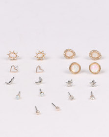 New Look CR IRR Mixed Stud Earrings Multi