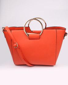 New Look Metal Handle Tote Orange