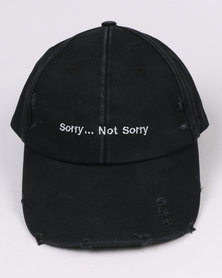 New Look Sorry Not Sorry Slogan Cap Black