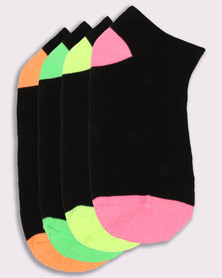 New Look 4Pack Neon H&T Trainer Socks Multi