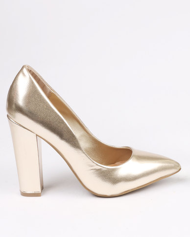 1569c35592c ZOOM Anji Block Heel Courts Gold