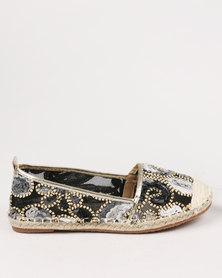 Miss Black Drum Embellished Flat Espadrille Black