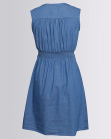 Cherry Melon Sleeveless Denim Dress Indigo