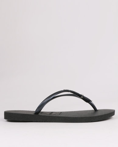 68b52ce2a Havaianas Slim Crystal Glamour Flip Flops Black