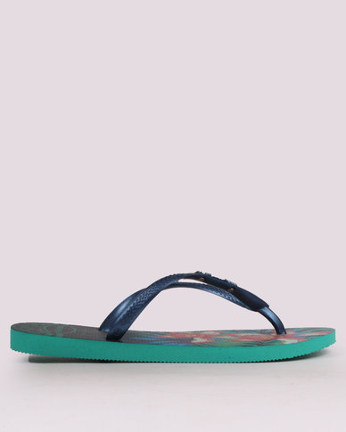 Havaianas Slim Tropical Flip Flops Mint Green