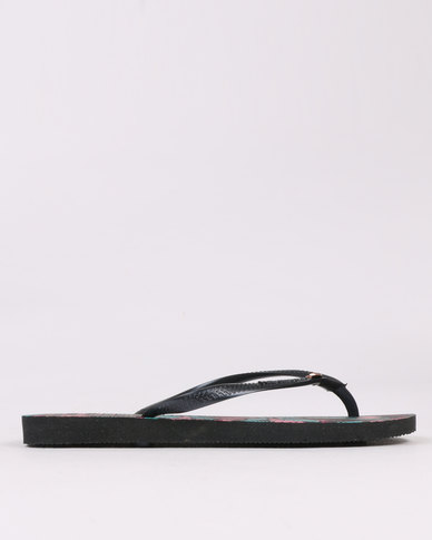 Havaianas Slim Royal Flip Flops Black / Dark Grey
