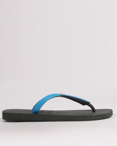 03588a90e87149 Havaianas Top Mix Flip Flops Grey Turquoise
