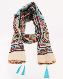 G Couture Large Pattern Detail Scarf Multi