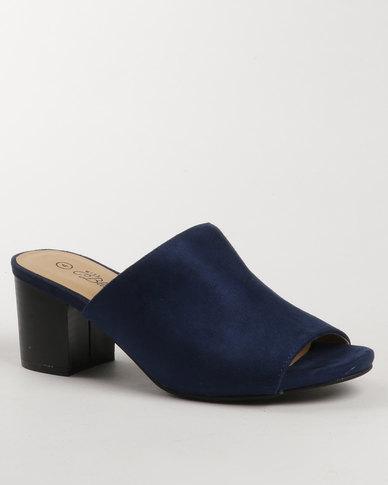 Miss Black Owl Block Heel Mule Blue