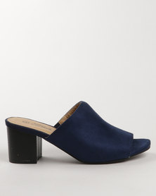 Miss Black Owl Block Heel Mule Blue