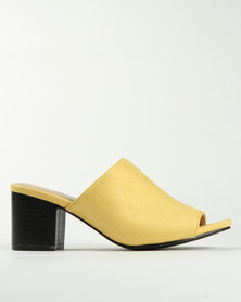 Miss Black Owl Block Heel Mule Yellow