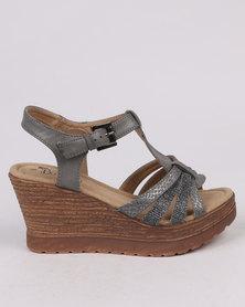 Butterfly Feet Drew Wedge Sandal Grey