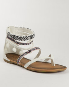 Miss Black Tropic Printed Flat Sandal White