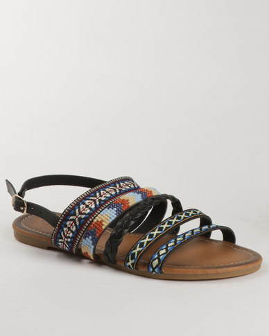 Miss Black Avocet Printed Flat Sandal Black