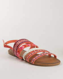 Miss Black Avocet Printed Flat Sandal Peach