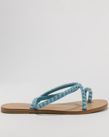 Miss Black Salmon Flat Sandal Blue