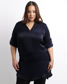 Utopia Plus Peachskin Shirt Navy