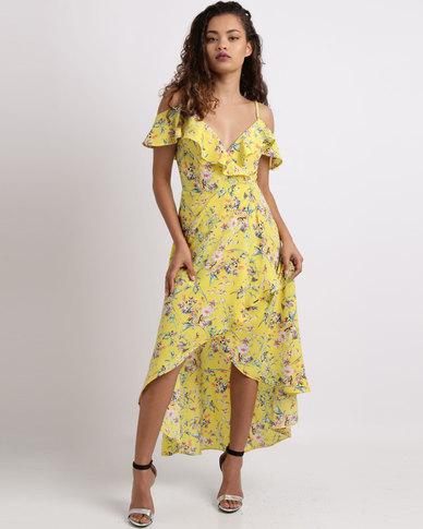 Sissy Boy Flora Printed Wrap Dress Yellow