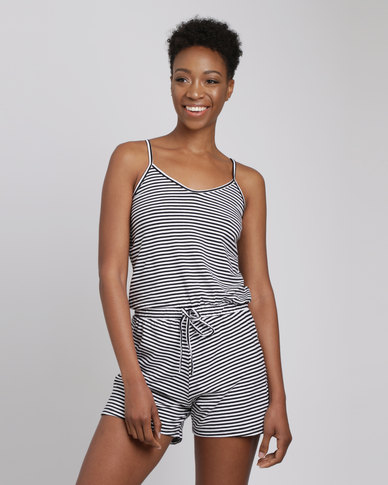Utopia Stripe Knit Playsuit Black/White