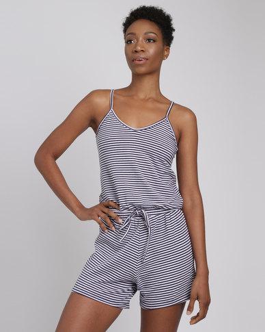 734c79672ff Utopia Stripe Knit Playsuit Navy White