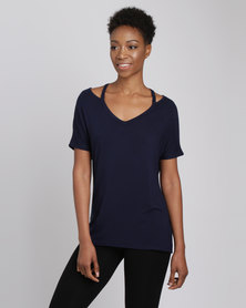 Utopia Tee With Neck Detail Navy