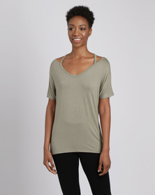 Utopia Tee With Neck Detail Olive