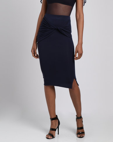 Utopia Knit Pencil Skirt With Knot Detail Navy