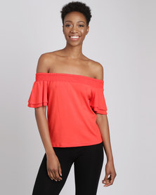 Utopia Off Shoulder Knit Top Chilli Red