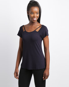 Utopia T-Shirt With Cut Out Navy