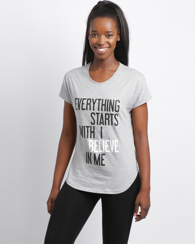 Utopia Slouchy Motivation Tee Grey Melange