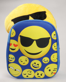 Emoji Boys Backpack Set With Matching Purse & Cushion Blue