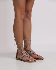 Footwork Malin Embroidered Flat Sandal Light Grey