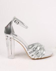 Footwork Amber block Heel Sandal Silver
