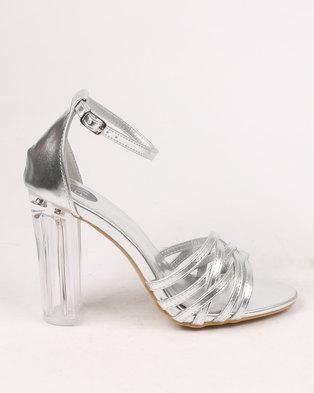 32eaf116c5f2 Footwork Amber block Heel Sandal Silver