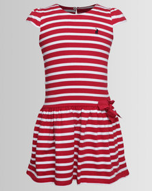 Polo Girls Hailey Capped Sleeve Striped Dress Red