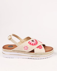 Footwork Willow Embroidered Flat Sandals Beige