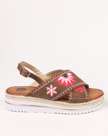 Footwork Willow Embroidered Flat Sandals Brown