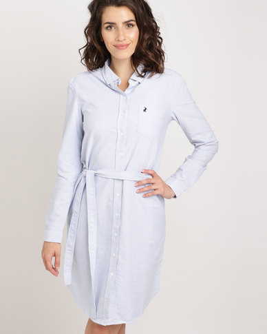 Polo Ladies Sophia Long Sleeve Shirt Dress Blue Zando