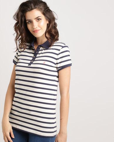 Polo Ladies Mia Short Sleeve Striped Golfer Navy