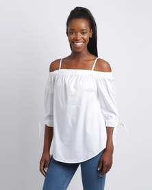 Utopia Bardot Shirt Top White