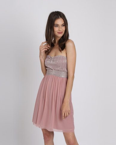 50b9342c853 Utopia Metallic Mesh Sweetheart Party Dress Pink