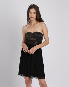 Utopia Metallic Mesh Sweetheart Party Dress Copper/Black