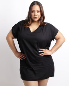 Utopia Plus Viscose Tunic Dress Black